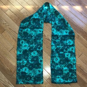 "Accessories - Silk green floral scarf 🧣. Like new 63""L X 8.5""W"